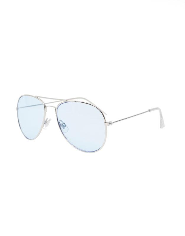 Pull&Bear - Lunettes de soleil aviateur avec verres bleus - Argenté - Argenté LdPkIVOa