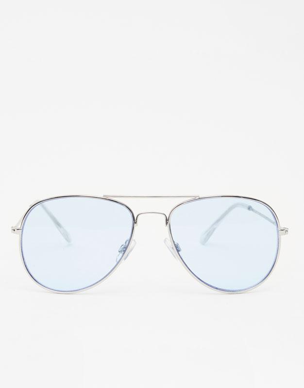 Pull&Bear - Lunettes de soleil aviateur avec verres bleus - Argenté - Argenté KJav9M8Cu