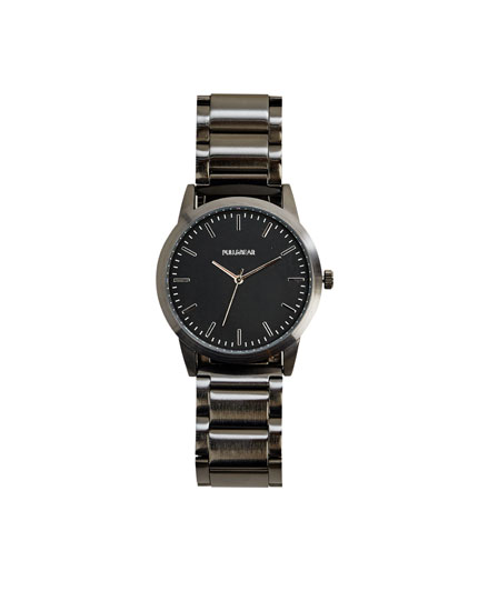 Matte black metal watch