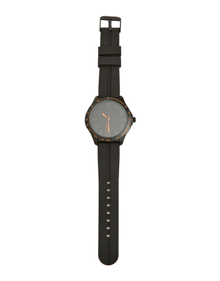 Reloj negro de caucho