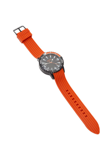 Watch with orange rubber strap
