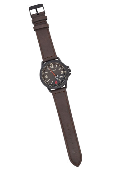 Classic watch with faux leather strap