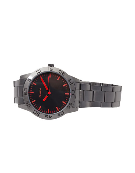 Watch with red hands