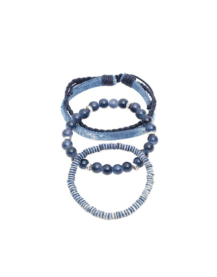 Denim and beaded bracelets