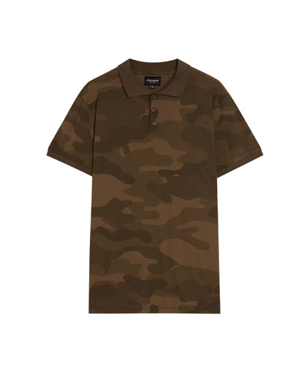 Short sleeve camouflage print polo shirt