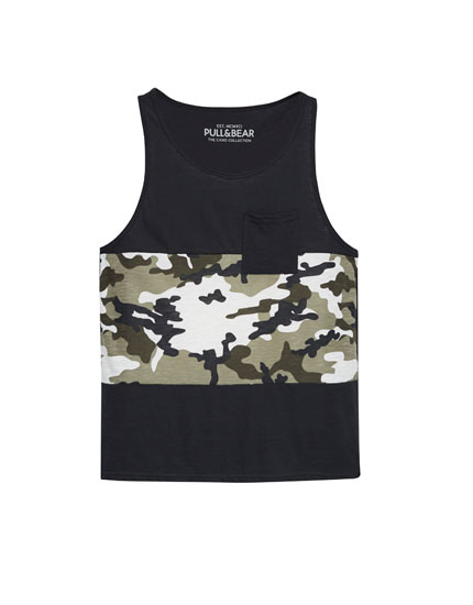 Camouflage panel tank top