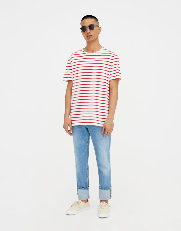 PullAndBear - nautical stripe t-shirt - red - 09234546-V2018