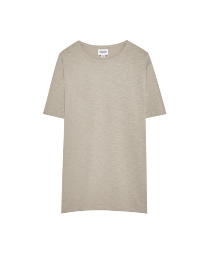 Slub knit textured weave cotton T-shirt