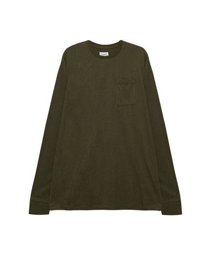 Camiseta manga larga bolsillo