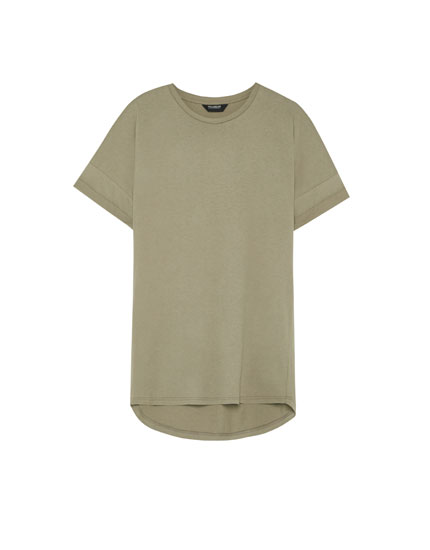Short sleeve T-shirt with dropped seams