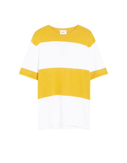 Short sleeve panelled sweater