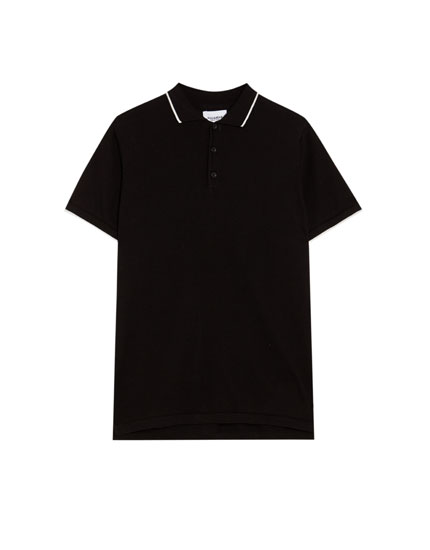 Short sleeve polo shirt with contrasting collar