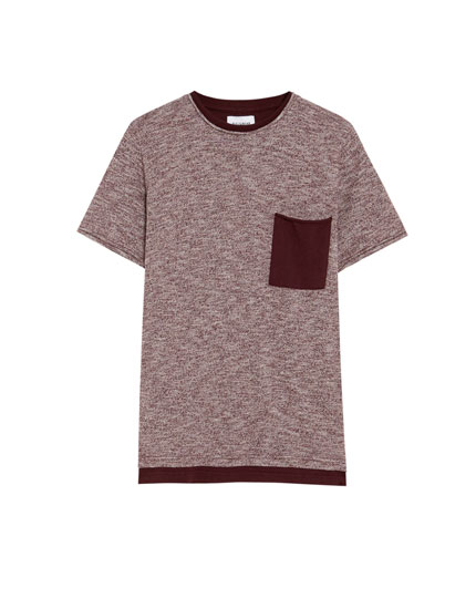 Short sleeve sweater with contrasting pocket