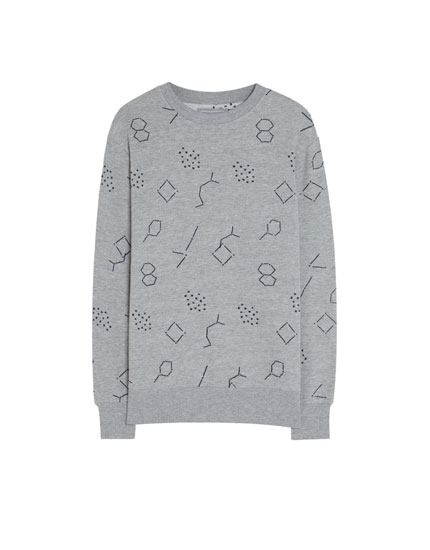 Sweat col rond broderies