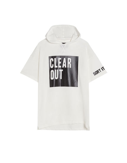 Hooded T-shirt with slogan