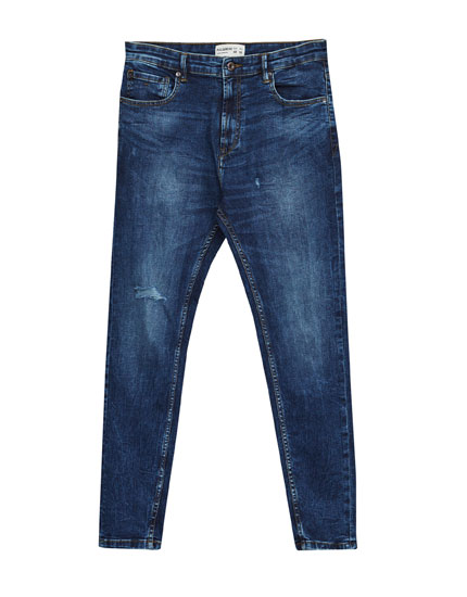 Dark blue carrot fit jeans