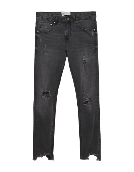 Grijze superskinny fit cropped jeans