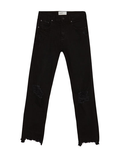 Jean noir cropped superskinny fit