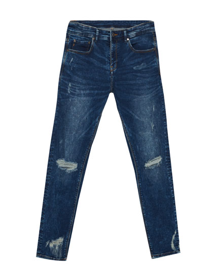 Ripped super skinny cropped jeans