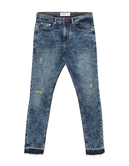 Cropped jeans superskinny fit met scheuren