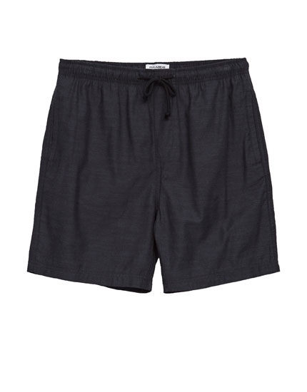 Bermuda shorts with elastic drawstring waistband