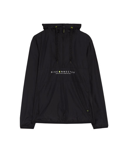 Hooded jacket with slogan