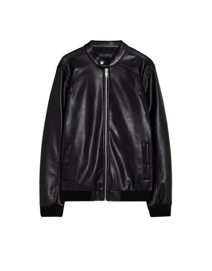 Faux leather jacket with an elastic waistband