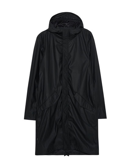 Long rubberised parka