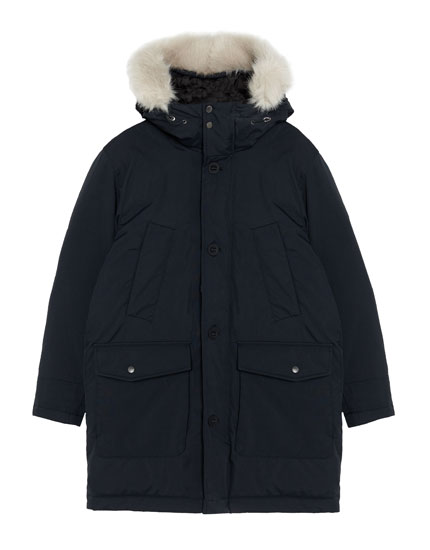 Quilted parka with faux fur hood