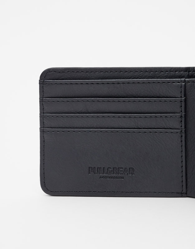 Faux leather wallet with perforations