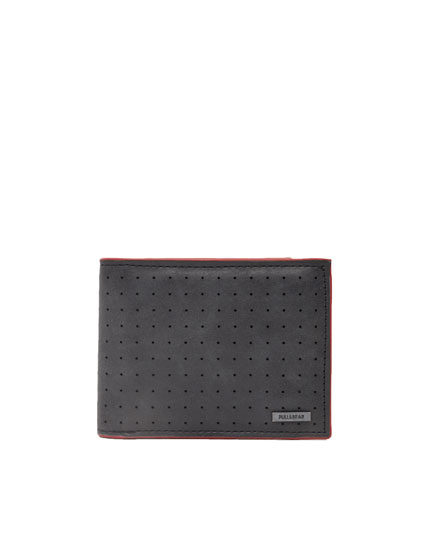 Two-tone faux leather wallet with perforations