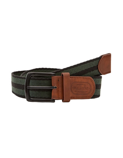 Canvas belt with contrasting stripes