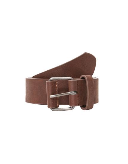 Dark brown faux leather belt