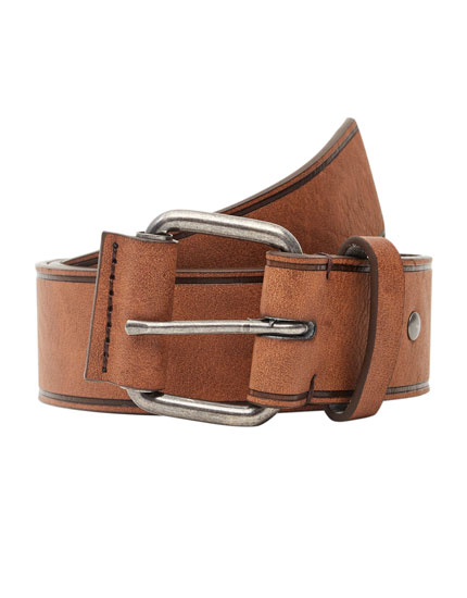 Brown belt with metal buckle