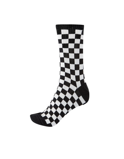 Long black and white checked socks