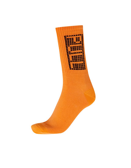 Long orange P&B checked socks