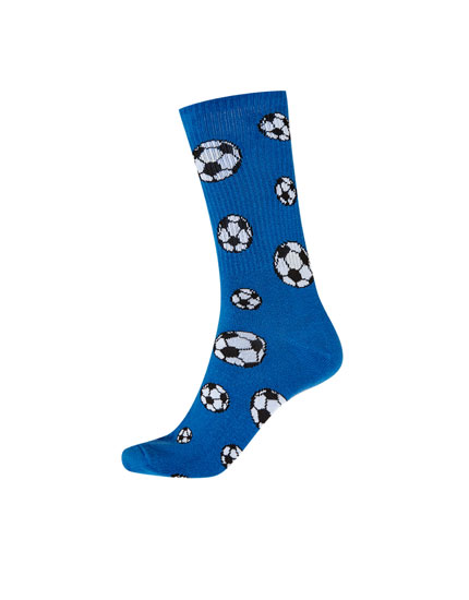 Long blue football socks