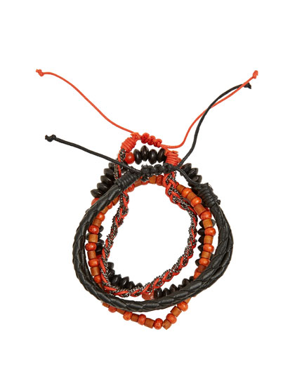 Orange and black beaded bracelets
