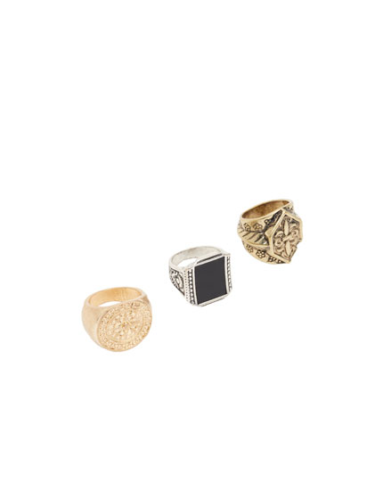 Pack of 3 crest rings