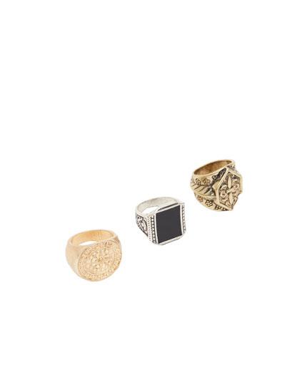 Pack de 3 anillos de escudos