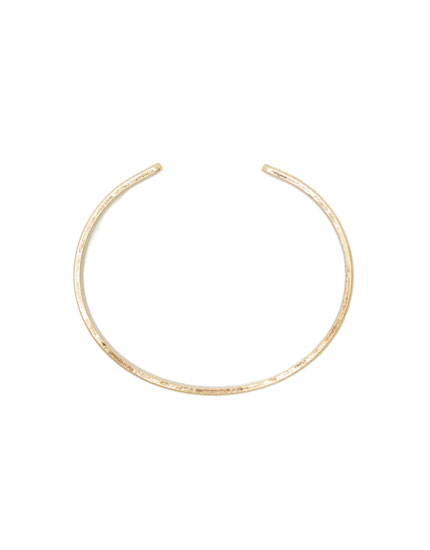Gold metal open bracelet