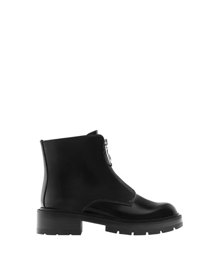 Flat zip-up ankle boots