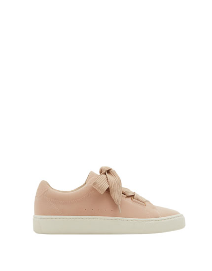 Pink fashion lace-up sneakers