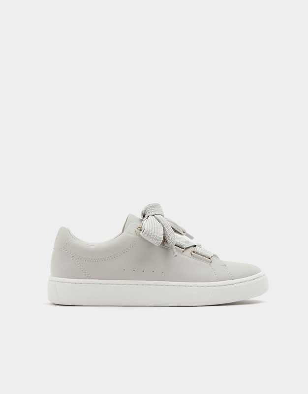 Grey Fashion Lace Up Sneakers by Pull & Bear