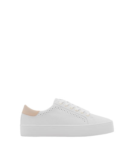 Embossed white sneakers with broguing