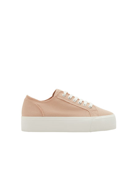 Pink fabric chunky sole sneakers