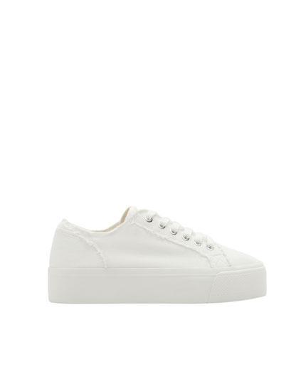 White fabric chunky sole sneakers