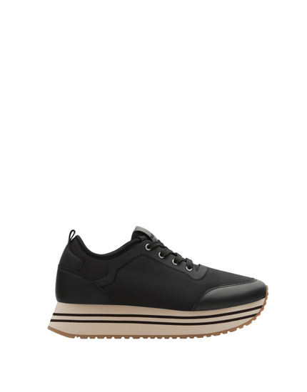 Black chunky sole fashion sneakers
