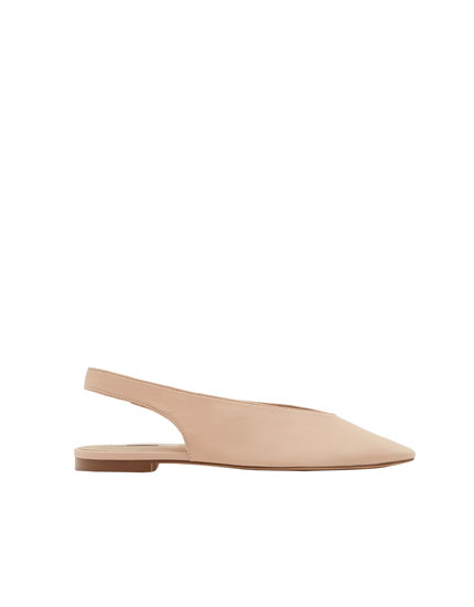 Nude leather slingback ballerinas