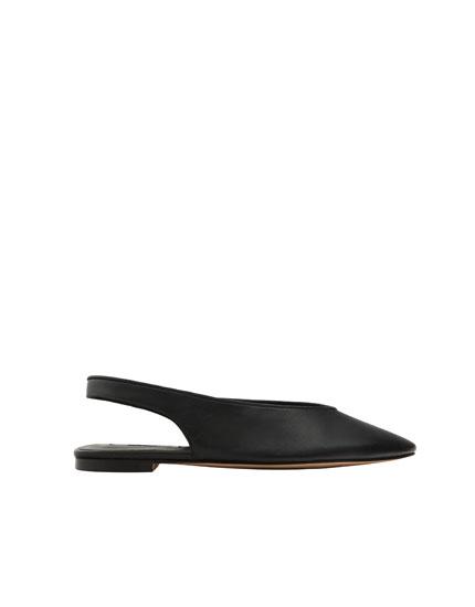 Black leather slingback ballerinas
